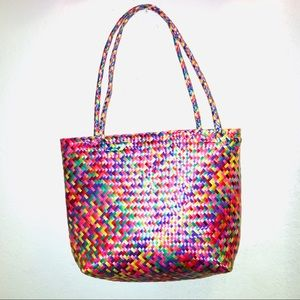 Hand woven plastic colorful bag